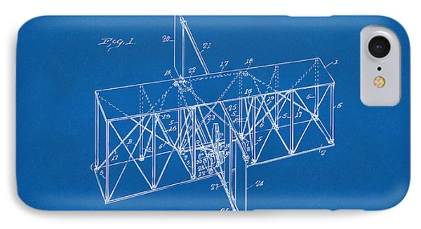 IPhone Case featuring the drawing 1914 Wright Brothers Flying Machine Patent Blueprint by Nikki Marie Smith