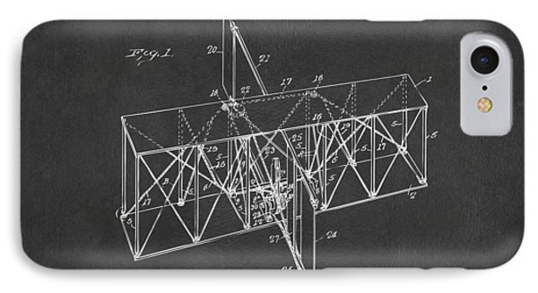 IPhone Case featuring the drawing 1914 Wright Brothers Flying Machine Patent Gray by Nikki Marie Smith