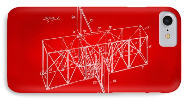 IPhone Case featuring the drawing 1914 Wright Brothers Flying Machine Patent Red by Nikki Marie Smith