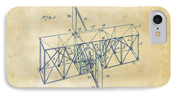 IPhone Case featuring the drawing 1914 Wright Brothers Flying Machine Patent Vintage by Nikki Marie Smith