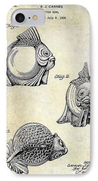 1915 Fish Bowl Patent Drawing  IPhone Case by Jon Neidert