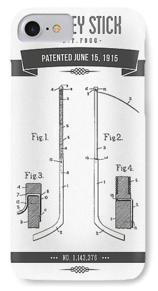 1915 Hockey Stick Patent Drawing - Retro Gray IPhone Case