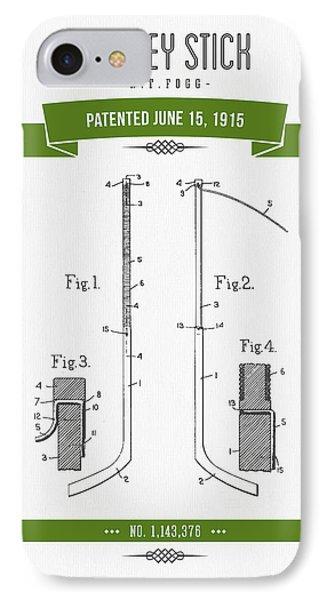 1915 Hockey Stick Patent Drawing - Retro Green IPhone Case