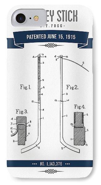 1915 Hockey Stick Patent Drawing - Retro Navy Blue IPhone Case