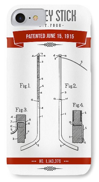 1915 Hockey Stick Patent Drawing - Retro Red IPhone Case
