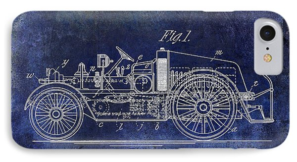 1916 Automobile Fire Apparatus Patent Drawing Blue IPhone Case by Jon Neidert