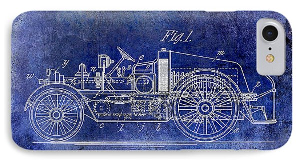 1916 Automobile Fire Apparatus Patent Drawing Lt Blue IPhone Case by Jon Neidert