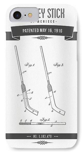 1916 Hockey Stick Patent Drawing - Retro Gray IPhone Case