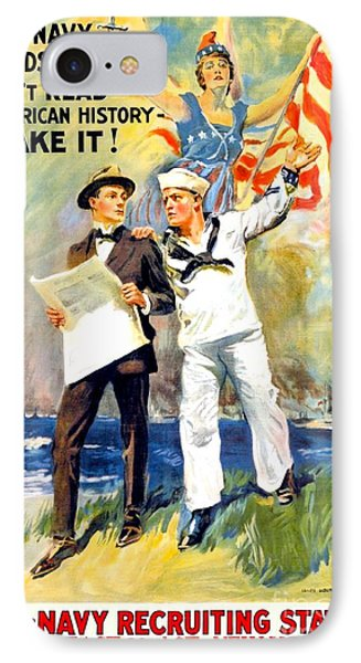 1917 - United States Navy Recruiting Poster - World War One - Color IPhone Case