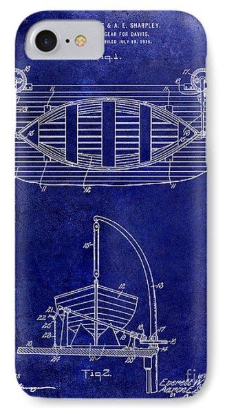 1917 Davit Patent Drawing Blue IPhone Case by Jon Neidert