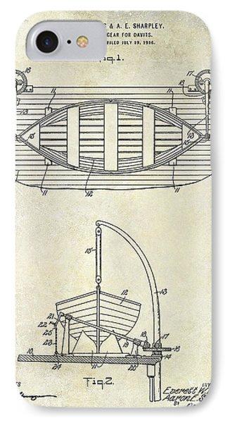 1917 Davit Patent Drawing  IPhone Case by Jon Neidert