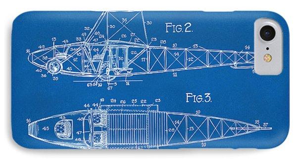 1917 Glenn Curtiss Aeroplane Patent Artwork 2 Blueprint IPhone Case by Nikki Marie Smith