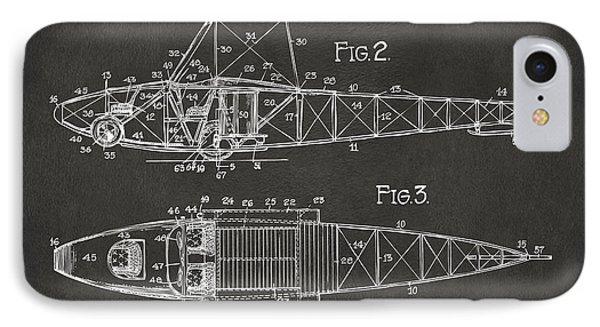 1917 Glenn Curtiss Aeroplane Patent Artwork 2 - Gray IPhone Case by Nikki Marie Smith
