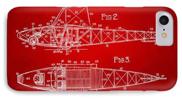 1917 Glenn Curtiss Aeroplane Patent Artwork 2 Red IPhone Case by Nikki Marie Smith