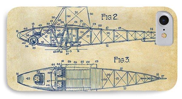 1917 Glenn Curtiss Aeroplane Patent Artwork 2 Vintage IPhone Case by Nikki Marie Smith