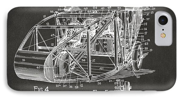 1917 Glenn Curtiss Aeroplane Patent Artwork 3 - Gray IPhone Case by Nikki Marie Smith