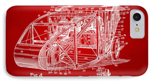 1917 Glenn Curtiss Aeroplane Patent Artwork 3 Red IPhone Case by Nikki Marie Smith