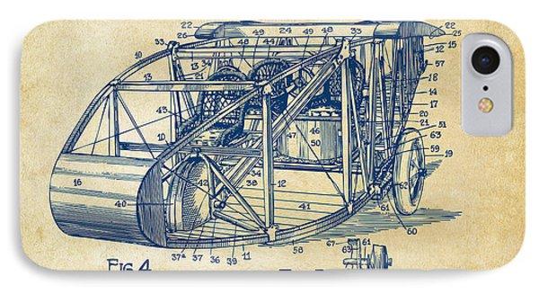 1917 Glenn Curtiss Aeroplane Patent Artwork 3 Vintage IPhone Case by Nikki Marie Smith