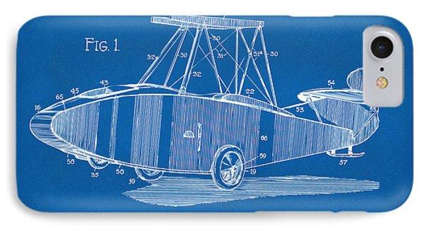 1917 Glenn Curtiss Aeroplane Patent Artwork Blueprint IPhone Case by Nikki Marie Smith