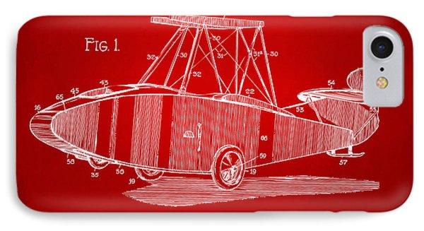 1917 Glenn Curtiss Aeroplane Patent Artwork Red IPhone Case by Nikki Marie Smith