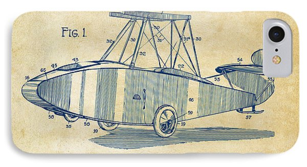 1917 Glenn Curtiss Aeroplane Patent Artwork Vintage IPhone Case by Nikki Marie Smith