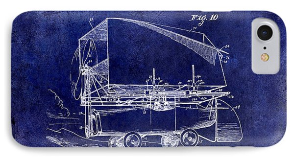 1919 Airship Patent Drawing Blue IPhone Case by Jon Neidert