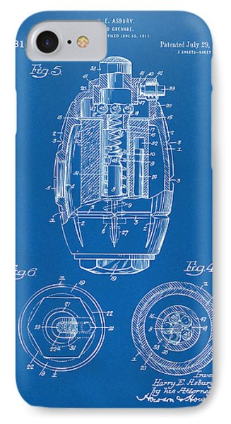 1919 Hand Grenade Patent Artwork - Blueprint IPhone Case by Nikki Marie Smith