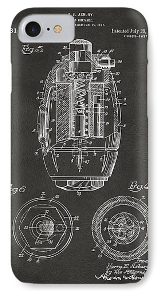 1919 Hand Grenade Patent Artwork - Gray IPhone Case by Nikki Marie Smith