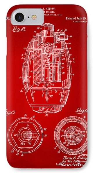1919 Hand Grenade Patent Artwork - Red IPhone Case by Nikki Marie Smith