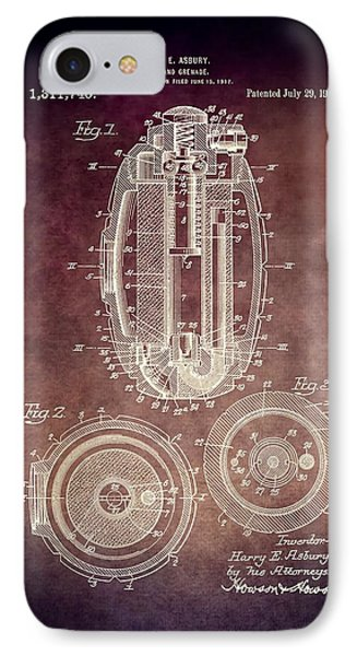 1919 Hand Grenade Patent IPhone Case by Dan Sproul