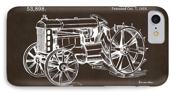 IPhone Case featuring the drawing 1919 Henry Ford Tractor Patent Espresso by Nikki Marie Smith