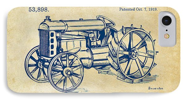 1919 Henry Ford Tractor Patent Vintage IPhone Case by Nikki Marie Smith