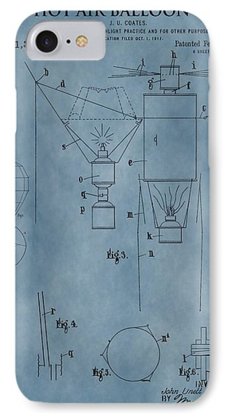 1920 Hot Air Balloon Patent Blue IPhone Case by Dan Sproul