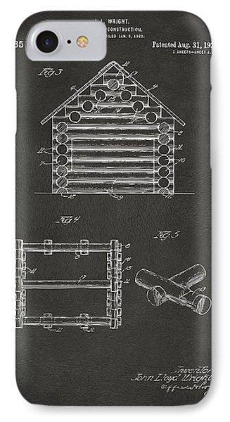 1920 Lincoln Log Cabin Patent Artwork - Gray IPhone Case