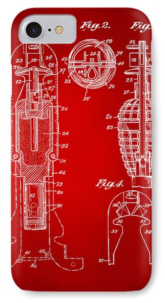 1921 Explosive Missle Patent Minimal Red Phone Case by Nikki Marie Smith