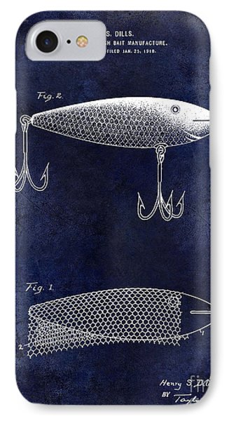 1921 Fish Bait Patent Drawing Blue IPhone Case