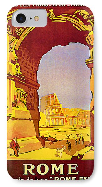 IPhone Case featuring the mixed media 1921 Rome - Vintage Travel Art by Presented By American Classic Art