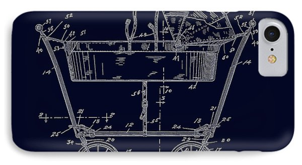 1922 Baby Carriage Patent Art Blueprint IPhone Case by Lesa Fine