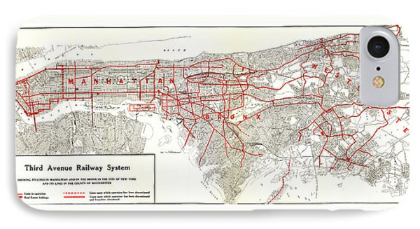 1922 Map Third Avenue Railway IPhone Case by Third Avenue Railway