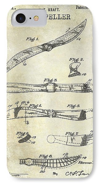 1922 Propeller Patent Drawing IPhone Case by Jon Neidert