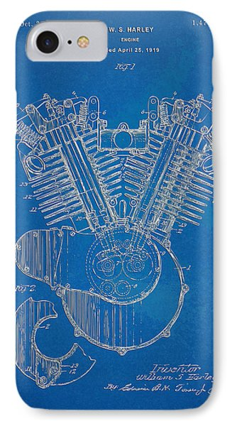 1923 Harley Davidson Engine Patent Artwork - Blueprint IPhone Case