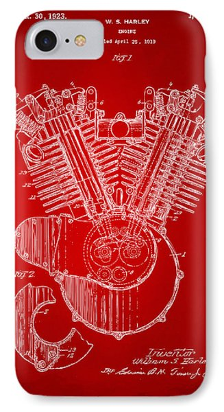 1923 Harley Engine Patent Art Red IPhone Case by Nikki Marie Smith