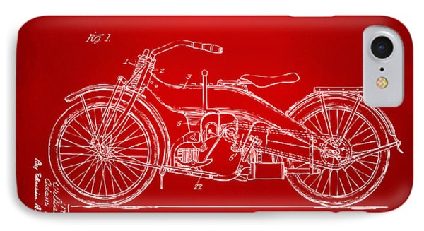1924 Harley Motorcycle Patent Artwork Red IPhone Case by Nikki Marie Smith