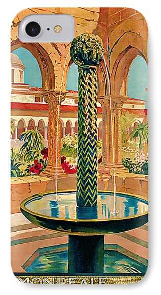 IPhone Case featuring the mixed media 1925 Monreale Vintage Travel Art by Presented By American Classic Art