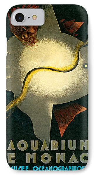 IPhone Case featuring the mixed media 1926 Aquarium De Monaco Vintage Travel Art by Presented By American Classic Art