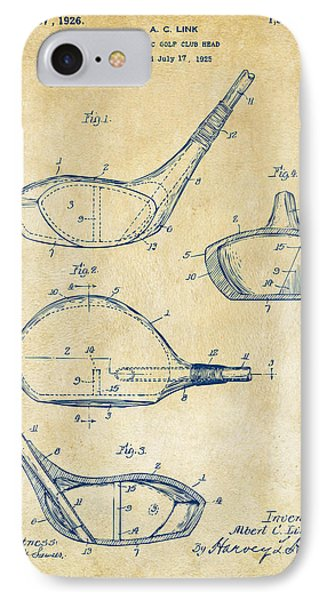 1926 Golf Club Patent Artwork - Vintage IPhone Case by Nikki Marie Smith