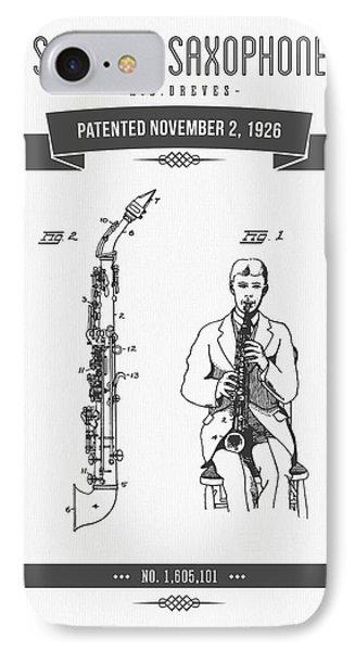 1926 Soprano Saxophone Patent Drawing IPhone Case