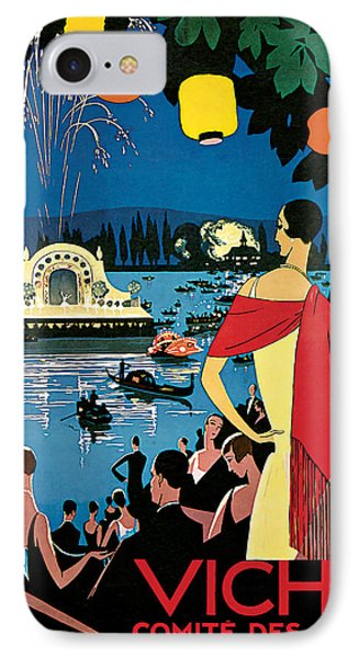 1926 Vichy Comte Des Fetes - Vintage Travel Art IPhone Case by Presented By American Classic Art