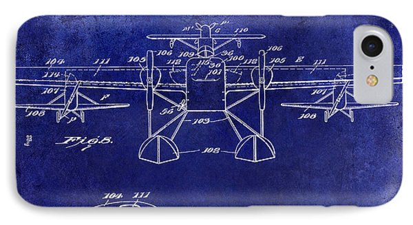 1927 Airplane Patent Drawing Blue IPhone Case by Jon Neidert