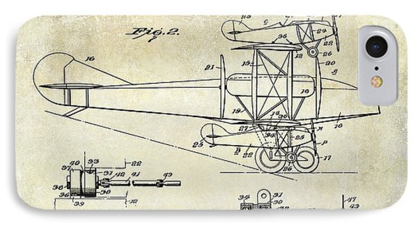 1927 Airplane Patent Drawing IPhone Case by Jon Neidert